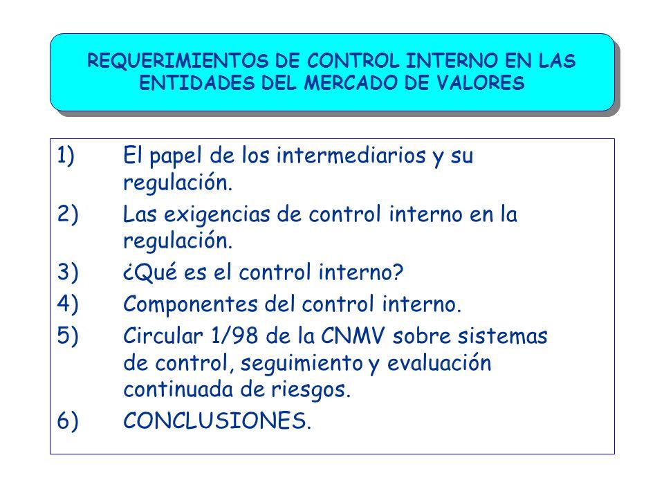 REQUERIMIENTOS DE CONTROL INTERNO EN LAS ENTIDADES DEL MERCADO DE VALORES 5) Circular 1/98 de la CNMV sobre sistemas de control, seguimiento y evaluación continuada de riesgos (I) I) Medios organizativos, políticas y procedimientos.