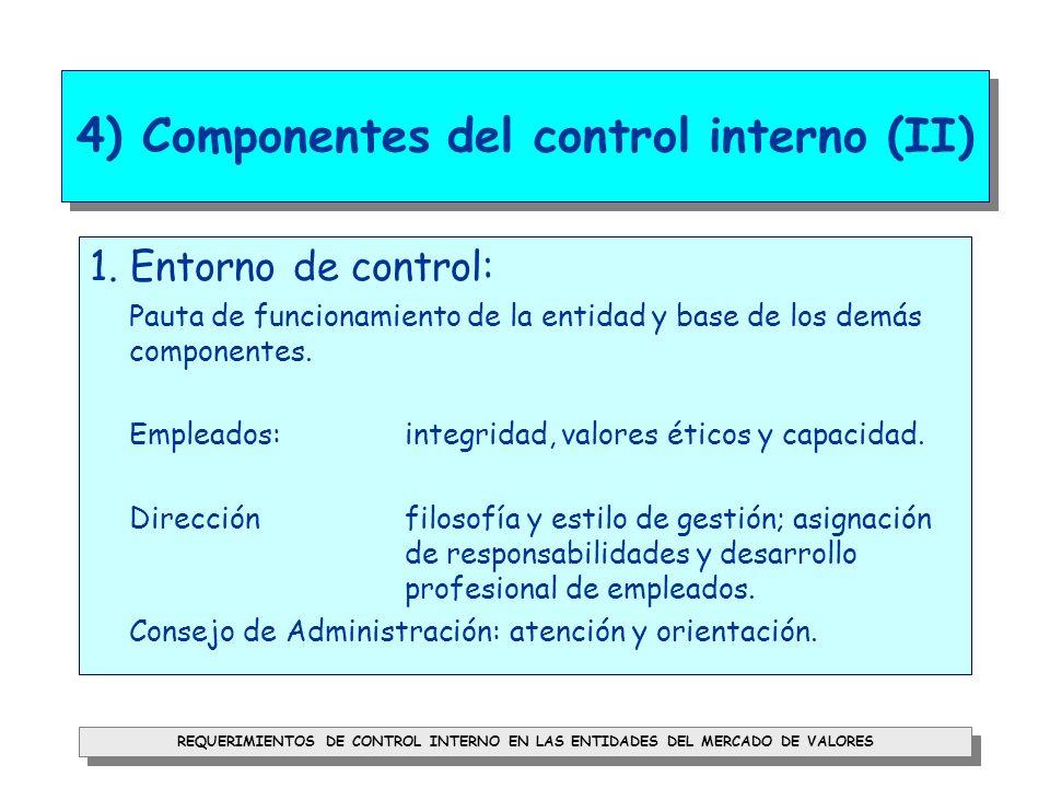 REQUERIMIENTOS DE CONTROL INTERNO EN LAS ENTIDADES DEL MERCADO DE VALORES 4) Componentes del control interno (III) 2.