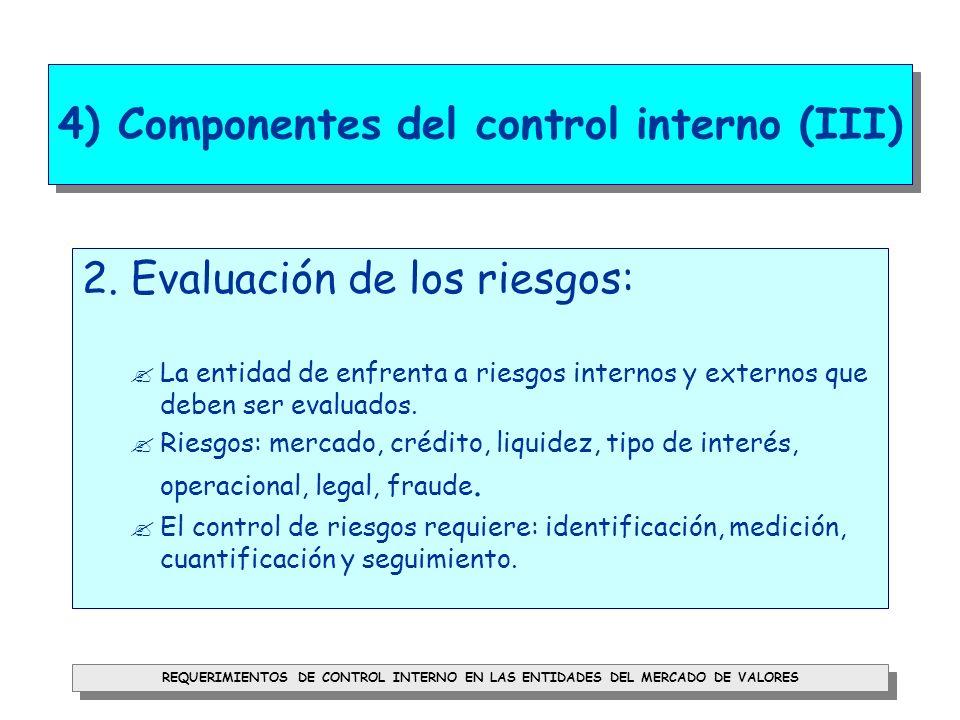 REQUERIMIENTOS DE CONTROL INTERNO EN LAS ENTIDADES DEL MERCADO DE VALORES 4) Componentes del control interno (IV) 3.