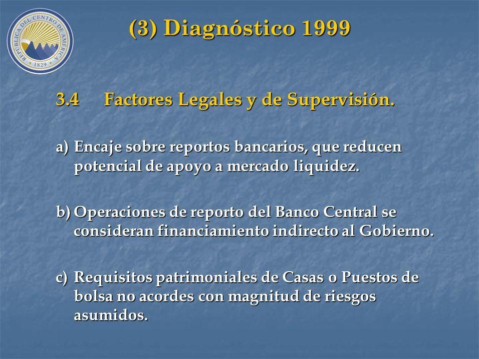 (3) Diagnóstico 1999 3.3 Factores Institucionales. a)Escasa articulación (segmentación) en mercados de liquidez. b)Participantes en Mercado Primario n