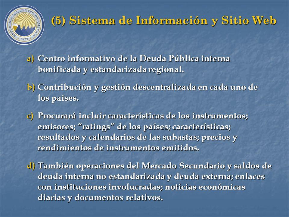 G. Mercado Regional a)Estándares Regionales y mercado regional. b)Registro automático de emisiones de deuda publica. c)Convenciones: denominación de v