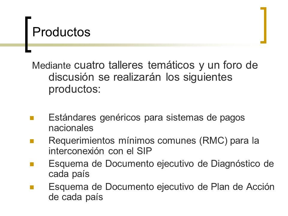 Productos Mediante cuatro talleres temáticos y un foro de discusión se realizarán los siguientes productos: Estándares genéricos para sistemas de pago