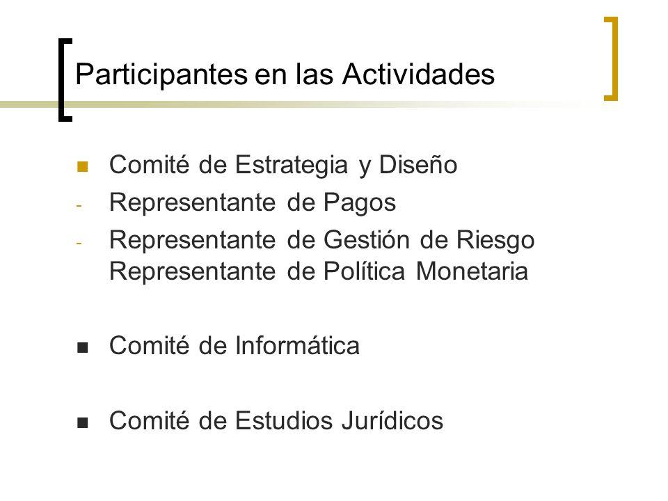 Participantes en las Actividades Comité de Estrategia y Diseño - Representante de Pagos - Representante de Gestión de Riesgo Representante de Política