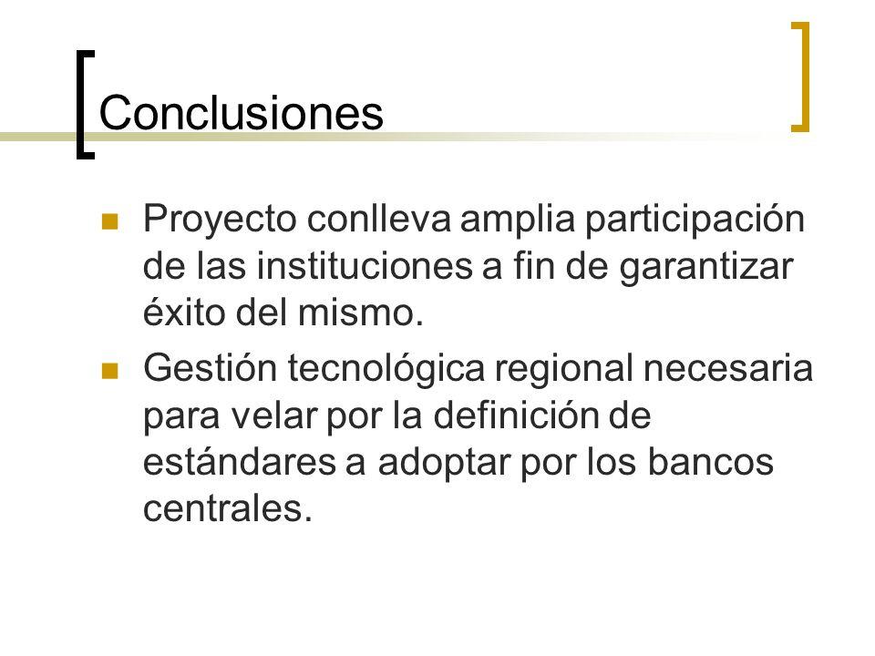 Conclusiones Proyecto conlleva amplia participación de las instituciones a fin de garantizar éxito del mismo. Gestión tecnológica regional necesaria p