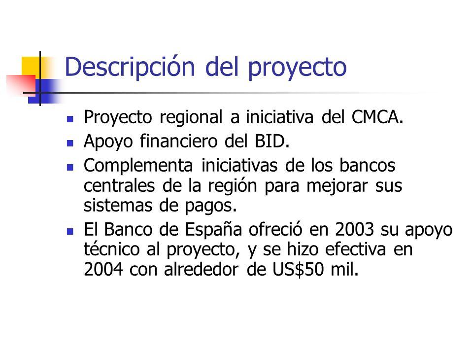 Descripción del proyecto Proyecto regional a iniciativa del CMCA. Apoyo financiero del BID. Complementa iniciativas de los bancos centrales de la regi