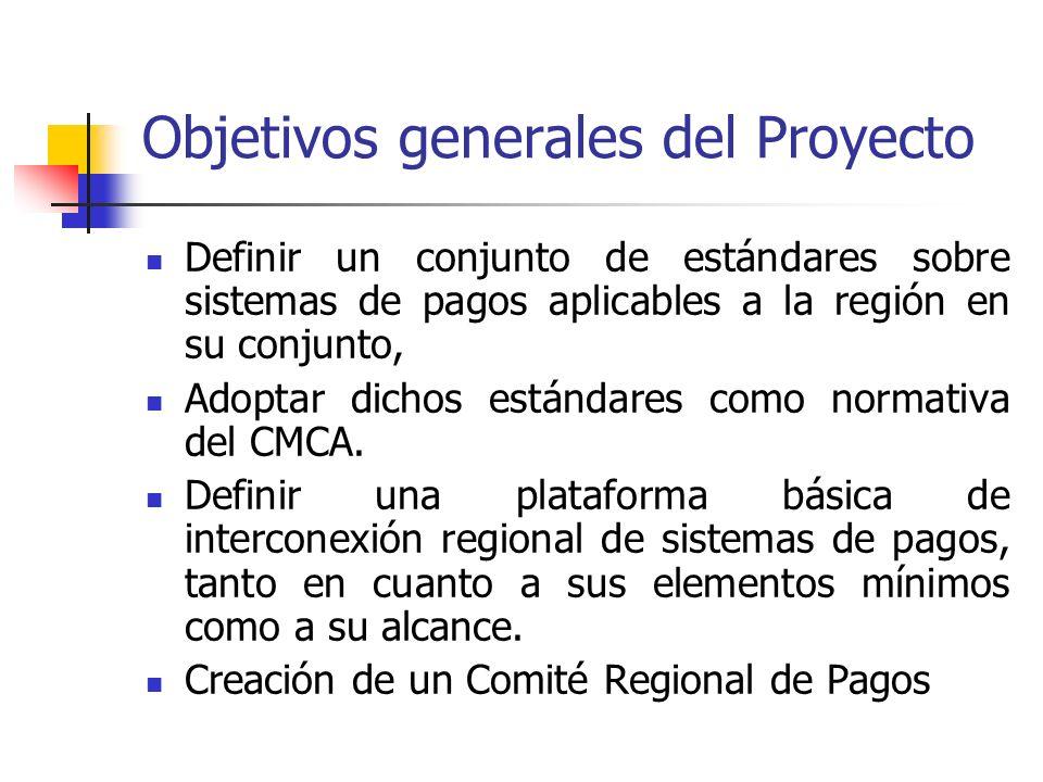 Objetivos generales del Proyecto Definir un conjunto de estándares sobre sistemas de pagos aplicables a la región en su conjunto, Adoptar dichos están