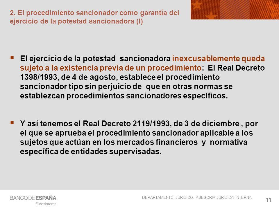 DEPARTAMENTO JURIDICO. ASESORIA JURIDICA INTERNA 11 2. El procedimiento sancionador como garantía del ejercicio de la potestad sancionadora (I) El eje