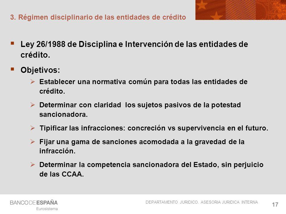 DEPARTAMENTO JURIDICO. ASESORIA JURIDICA INTERNA 17 3. Régimen disciplinario de las entidades de crédito Ley 26/1988 de Disciplina e Intervención de l