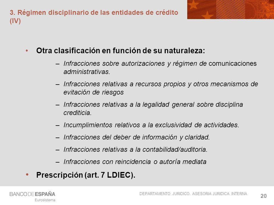 DEPARTAMENTO JURIDICO. ASESORIA JURIDICA INTERNA 20 3. Régimen disciplinario de las entidades de crédito (IV) Otra clasificación en función de su natu