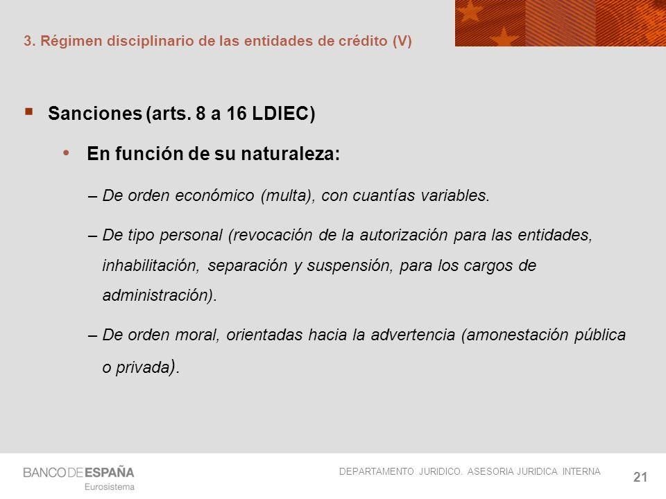 DEPARTAMENTO JURIDICO. ASESORIA JURIDICA INTERNA 21 3. Régimen disciplinario de las entidades de crédito (V) Sanciones (arts. 8 a 16 LDIEC) En función