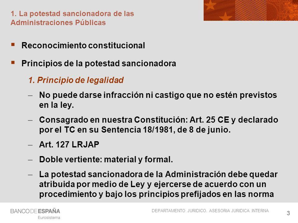 DEPARTAMENTO JURIDICO. ASESORIA JURIDICA INTERNA 3 1. La potestad sancionadora de las Administraciones Públicas Reconocimiento constitucional Principi