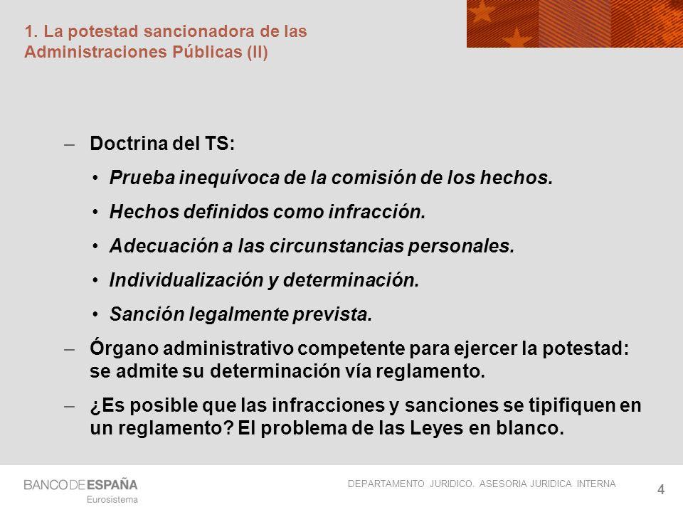 DEPARTAMENTO JURIDICO. ASESORIA JURIDICA INTERNA 4 1. La potestad sancionadora de las Administraciones Públicas (II) –Doctrina del TS: Prueba inequívo