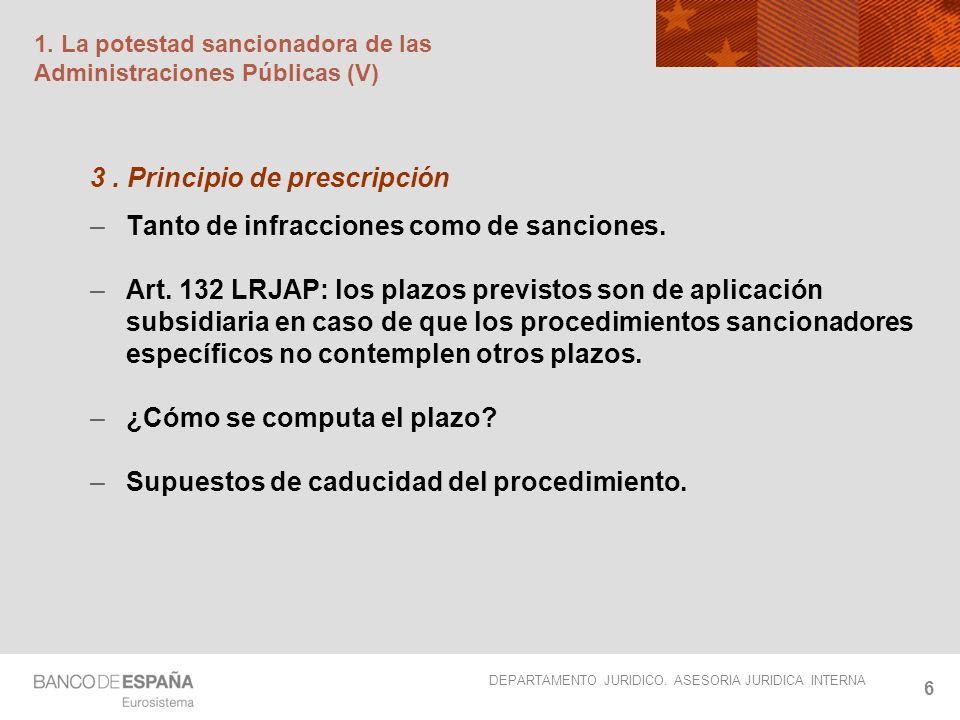 DEPARTAMENTO JURIDICO. ASESORIA JURIDICA INTERNA 6 1. La potestad sancionadora de las Administraciones Públicas (V) 3. Principio de prescripción –Tant