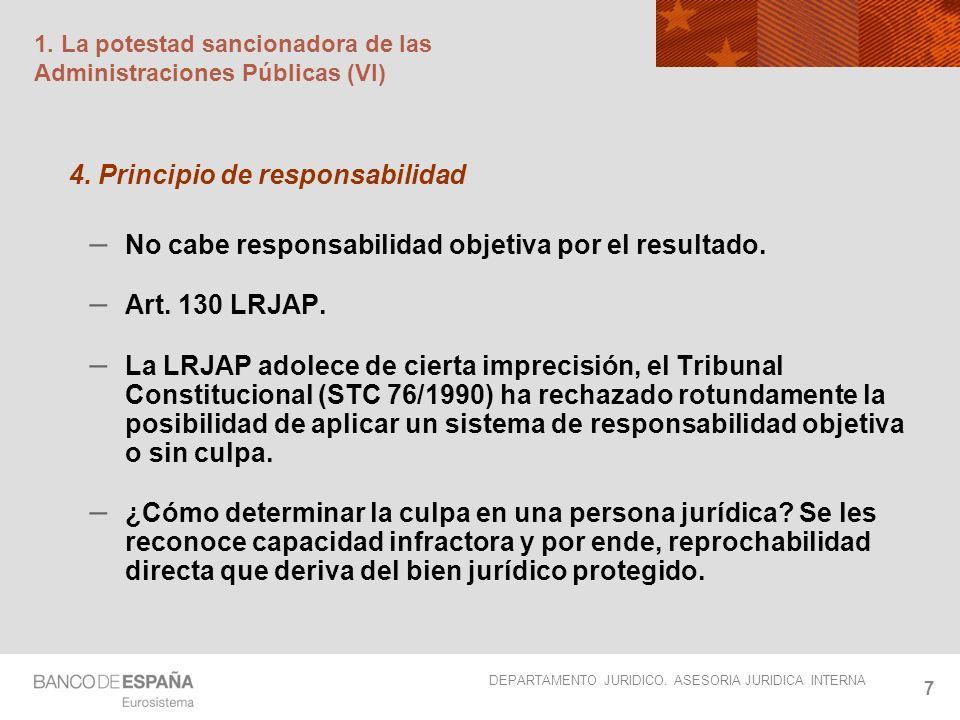 DEPARTAMENTO JURIDICO. ASESORIA JURIDICA INTERNA 7 1. La potestad sancionadora de las Administraciones Públicas (VI) 4. Principio de responsabilidad –