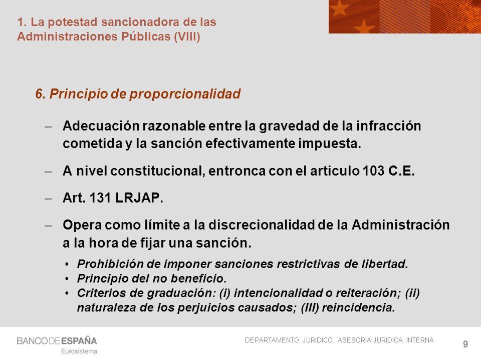 DEPARTAMENTO JURIDICO. ASESORIA JURIDICA INTERNA 9 1. La potestad sancionadora de las Administraciones Públicas (VIII) 6. Principio de proporcionalida