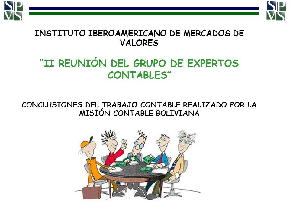 INSTITUTO IBEROAMERICANO DE MERCADOS DE VALORESII REUNIÓN DEL GRUPO DE EXPERTOS CONTABLES CONCLUSIONES DEL TRABAJO CONTABLE REALIZADO POR LA MISIÓN CO