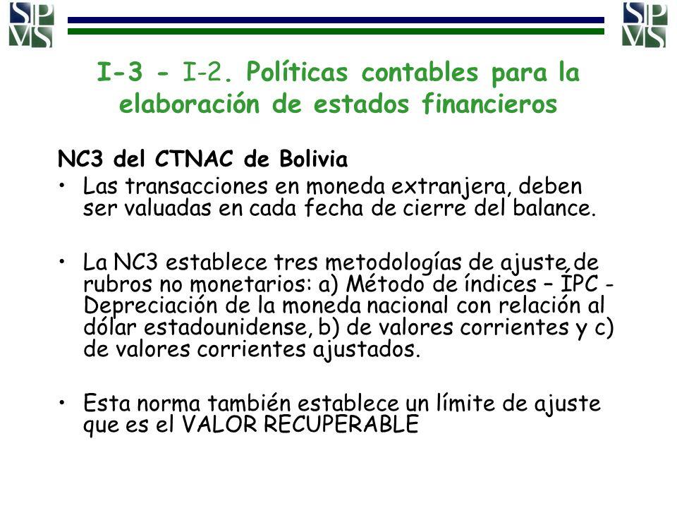 I-3 - I-2. Políticas contables para la elaboración de estados financieros NC3 del CTNAC de Bolivia Las transacciones en moneda extranjera, deben ser v