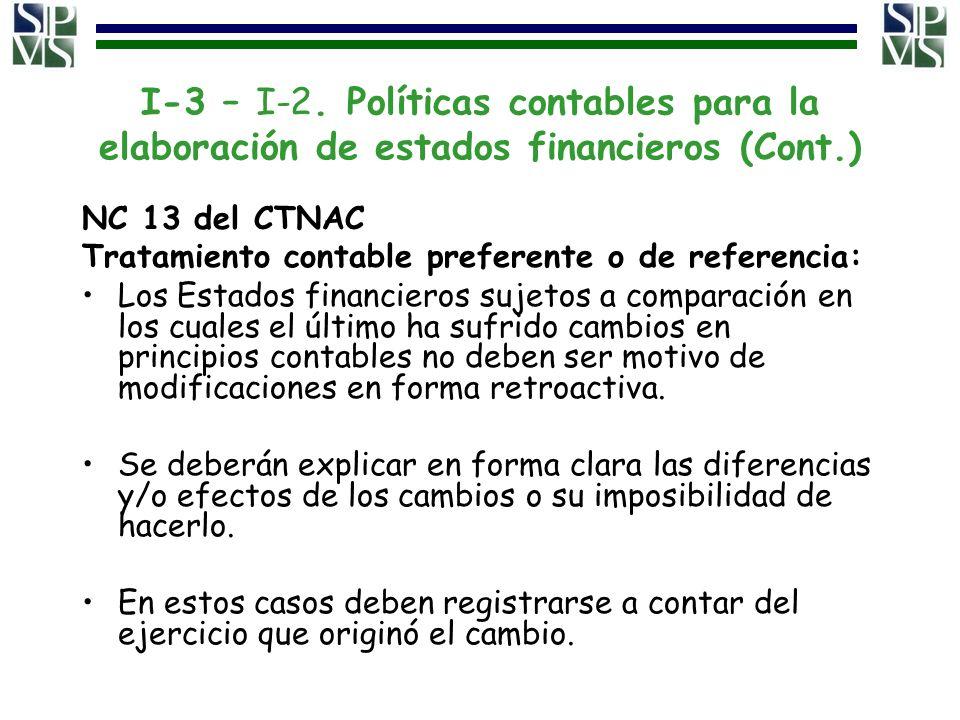 I-3 – I-2. Políticas contables para la elaboración de estados financieros (Cont.) NC 13 del CTNAC Tratamiento contable preferente o de referencia: Los