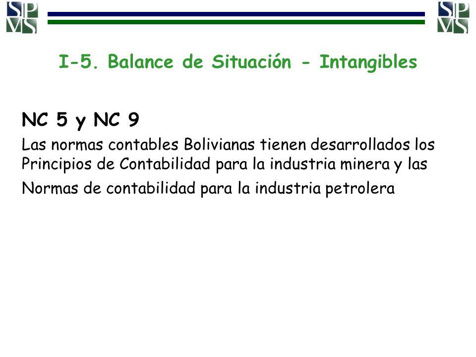 I-5. Balance de Situación - Intangibles NC 5 y NC 9 Las normas contables Bolivianas tienen desarrollados los Principios de Contabilidad para la indust