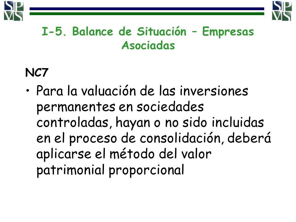 I-5. Balance de Situación – Empresas Asociadas NC7 Para la valuación de las inversiones permanentes en sociedades controladas, hayan o no sido incluid
