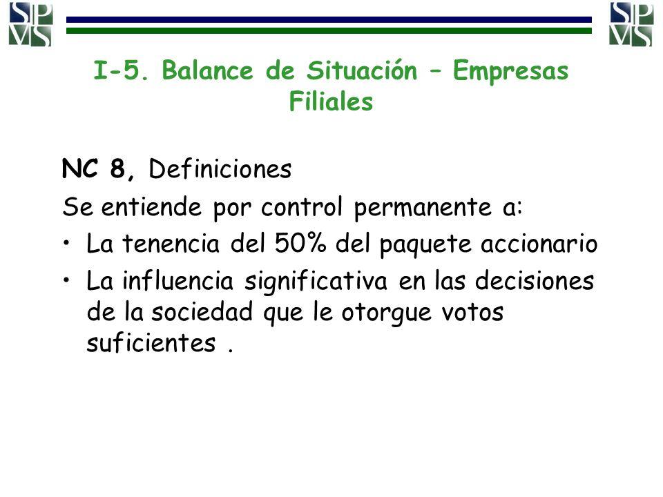 I-5. Balance de Situación – Empresas Filiales NC 8, Definiciones Se entiende por control permanente a: La tenencia del 50% del paquete accionario La i