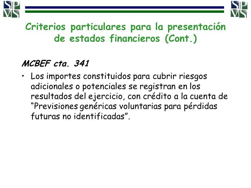Criterios particulares para la presentación de estados financieros (Cont.) MCBEF cta. 341 Los importes constituidos para cubrir riesgos adicionales o