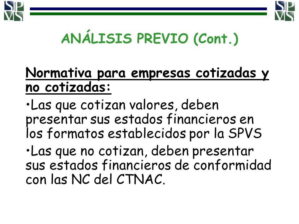 ANÁLISIS PREVIO (Cont.) Normativa para empresas cotizadas y no cotizadas: Las que cotizan valores, deben presentar sus estados financieros en los form