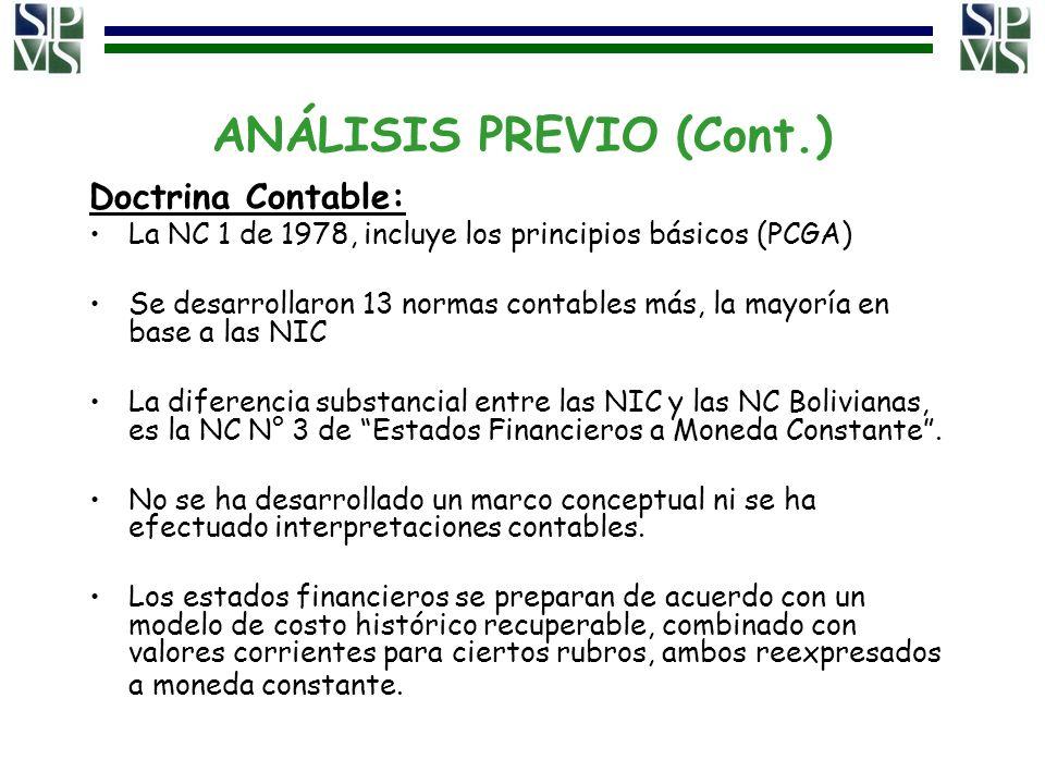 ANÁLISIS PREVIO (Cont.) Doctrina Contable: La NC 1 de 1978, incluye los principios básicos (PCGA) Se desarrollaron 13 normas contables más, la mayoría