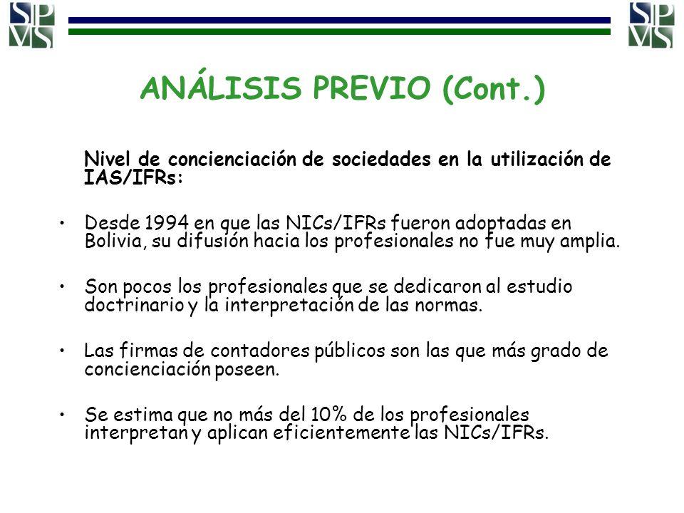 ANÁLISIS PREVIO (Cont.) Nivel de concienciación de sociedades en la utilización de IAS/IFRs: Desde 1994 en que las NICs/IFRs fueron adoptadas en Boliv