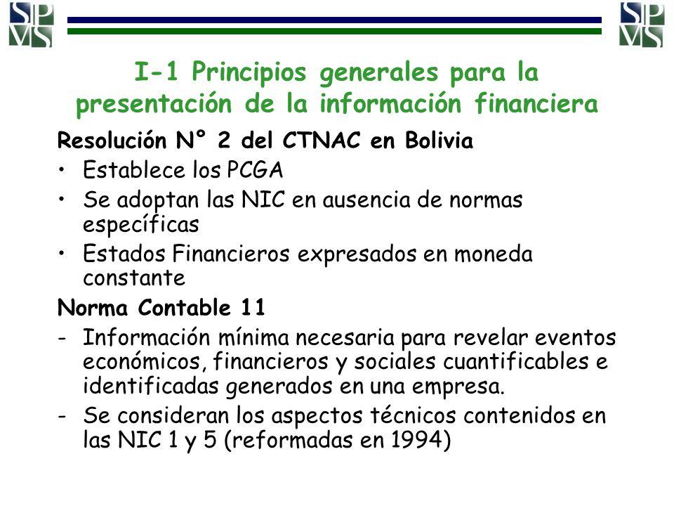 I-1 Principios generales para la presentación de la información financiera Resolución N° 2 del CTNAC en Bolivia Establece los PCGA Se adoptan las NIC