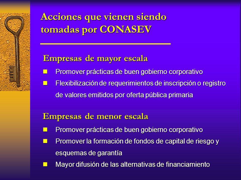 Acciones que vienen siendo tomadas por CONASEV Empresas de menor escala nPromover prácticas de buen gobierno corporativo nFlexibilización de requerimi