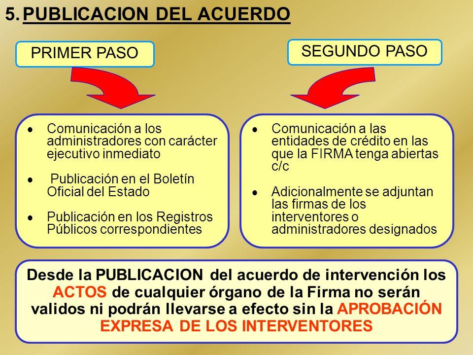 12 4.DESIGNACIÓN DE INTERVENTORES O ADMINISTRADORES El mismo acuerdo de intervención o sustitución designa a las personas que hayan de actuar como int