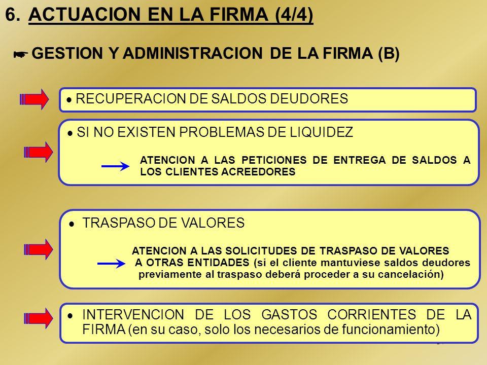 16 6. ACTUACION EN LA FIRMA (3/4) CONTROL DE LA SITUACION DE LIQUIDEZ (c/c con intermediarios financieros, cartera de valores propiedad de la firma, e