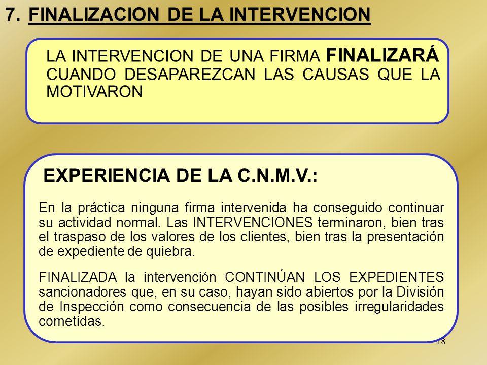 17 6. ACTUACION EN LA FIRMA (4/4) RECUPERACION DE SALDOS DEUDORES *GESTION Y ADMINISTRACION DE LA FIRMA (B) TRASPASO DE VALORES ATENCION A LAS SOLICIT