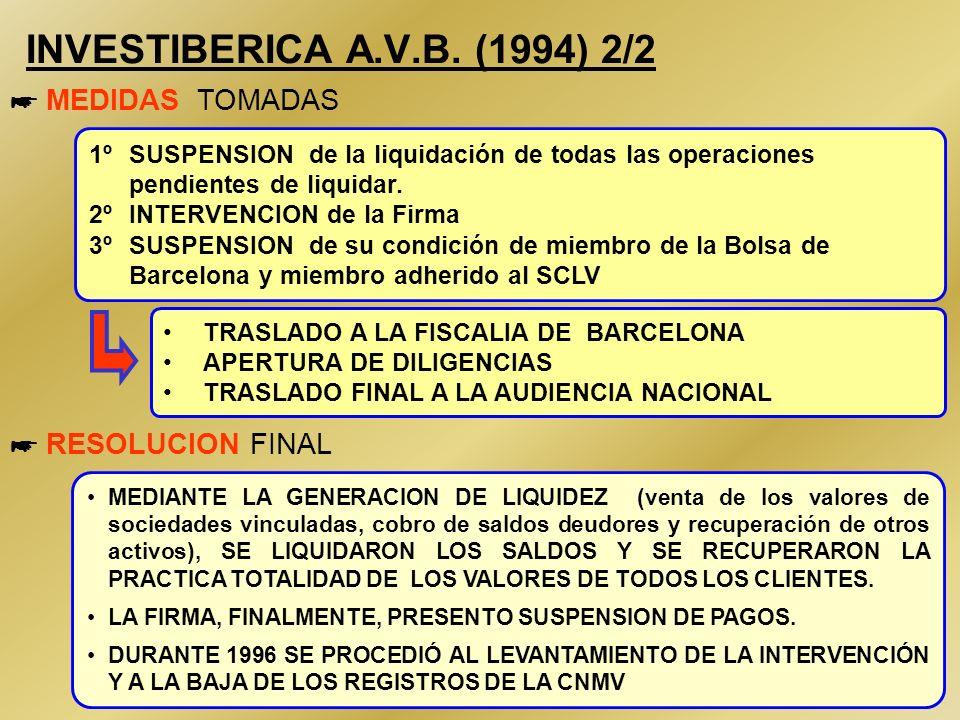 26 INVESTIBERICA A.V.B. (1994) 1/2 * ORIGEN DEL PROBLEMA * MANIFESTACION DEL PROBLEMA NECESIDAD DE GENERAR LIQUIDEZ Desvío de fondos para otras activi