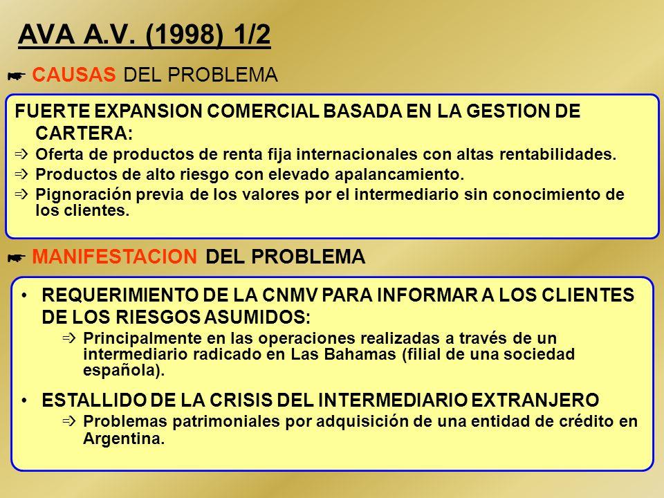 29 XM PATRIMONIOS A.V. (1995) 2/2 * HECHOS DETECTADOS En 1995 se declaró el ESTADO LEGAL DE QUIEBRA Como consecuencia del expediente sancionador por I