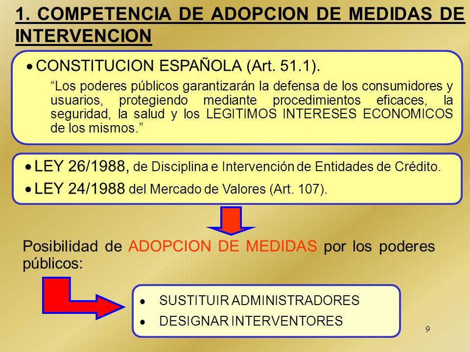 SEGUNDA PARTE INTERVENCION Y SUSTITUCION EN LAS FIRMAS DE VALORES Ley 26/1988 de Disciplina e Intervención de Entidades de Crédito Medidas de Interven
