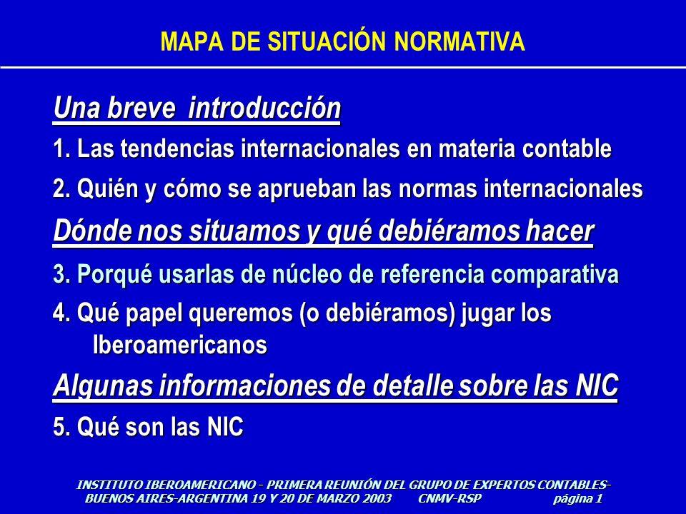 MAPA DE SITUACIÓN NORMATIVA Una breve introducción 1. Las tendencias internacionales en materia contable 2. Quién y cómo se aprueban las normas intern