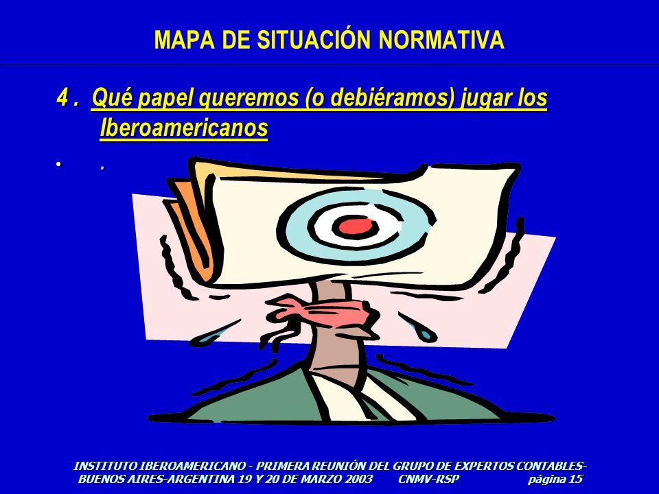 4. Qué papel queremos (o debiéramos) jugar los Iberoamericanos. INSTITUTO IBEROAMERICANO - PRIMERA REUNIÓN DEL GRUPO DE EXPERTOS CONTABLES- BUENOS AIR