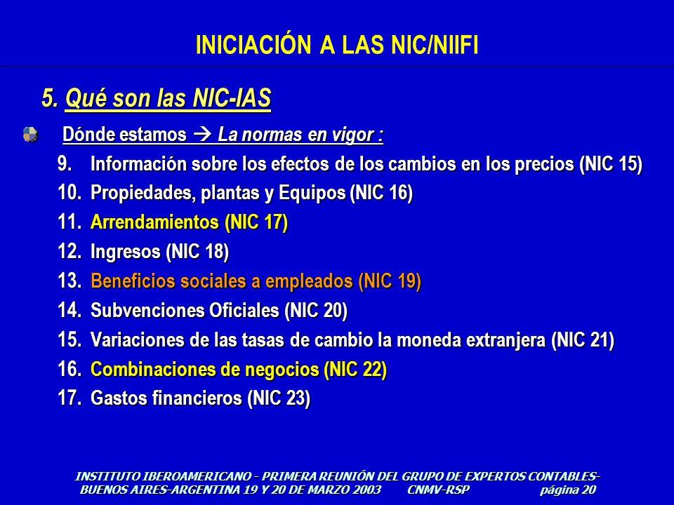Dónde estamos La normas en vigor : 9. Información sobre los efectos de los cambios en los precios (NIC 15) 10. Propiedades, plantas y Equipos (NIC 16)