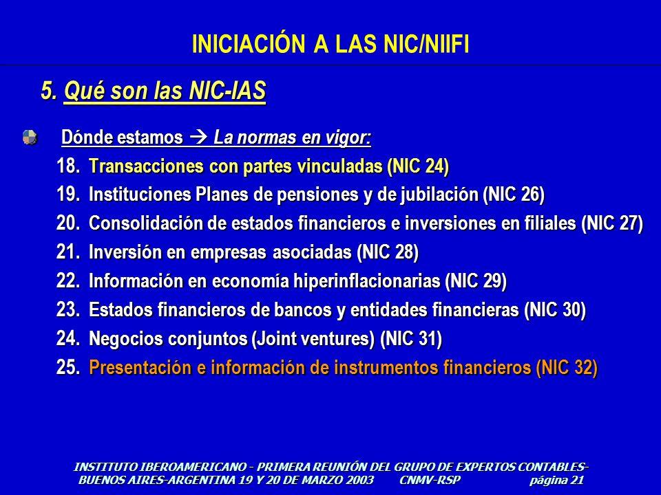 Dónde estamos La normas en vigor: 18. Transacciones con partes vinculadas (NIC 24) 19. Instituciones Planes de pensiones y de jubilación (NIC 26) 20.