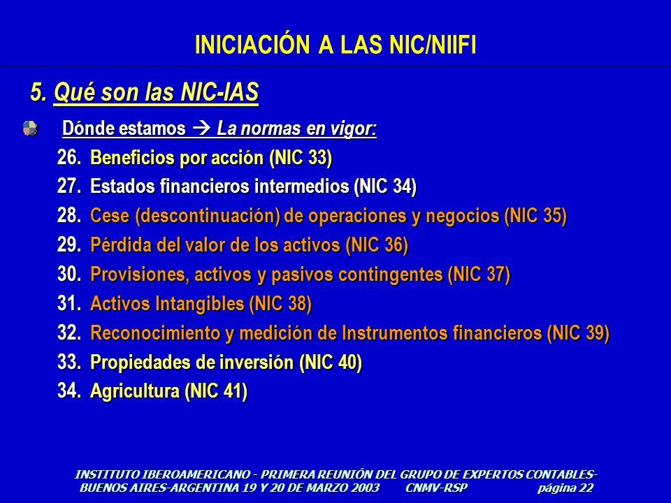Dónde estamos La normas en vigor: 26. Beneficios por acción (NIC 33) 27. Estados financieros intermedios (NIC 34) 28. Cese (descontinuación) de operac