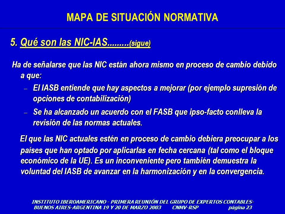5. Qué son las NIC-IAS......... (sigue) Ha de señalarse que las NIC están ahora mismo en proceso de cambio debido a que: Ha de señalarse que las NIC e