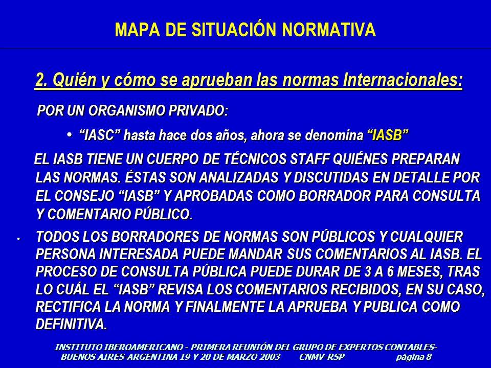 El plan cronológico del IASB- HACIA DÓNDE VAN LAS NIIFI : MAPA DE SITUACIÓN NORMATIVA INSTITUTO IBEROAMERICANO - PRIMERA REUNIÓN DEL GRUPO DE EXPERTOS CONTABLES- BUENOS AIRES-ARGENTINA 19 Y 20 DE MARZO 2003 CNMV-RSP página 29