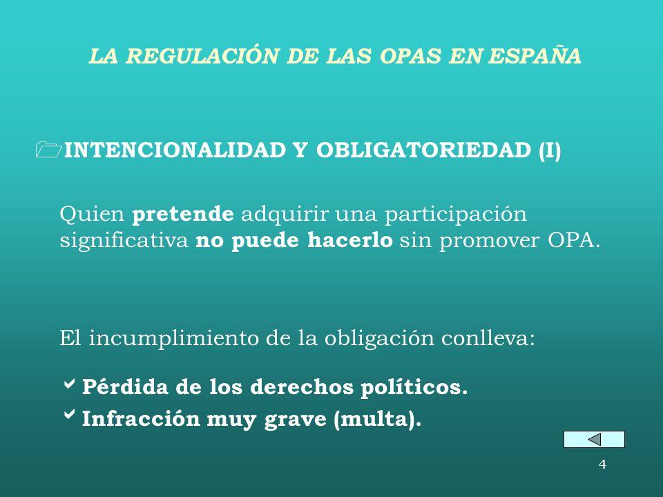 4 INTENCIONALIDAD Y OBLIGATORIEDAD (I) Quien pretende adquirir una participación significativa no puede hacerlo sin promover OPA.