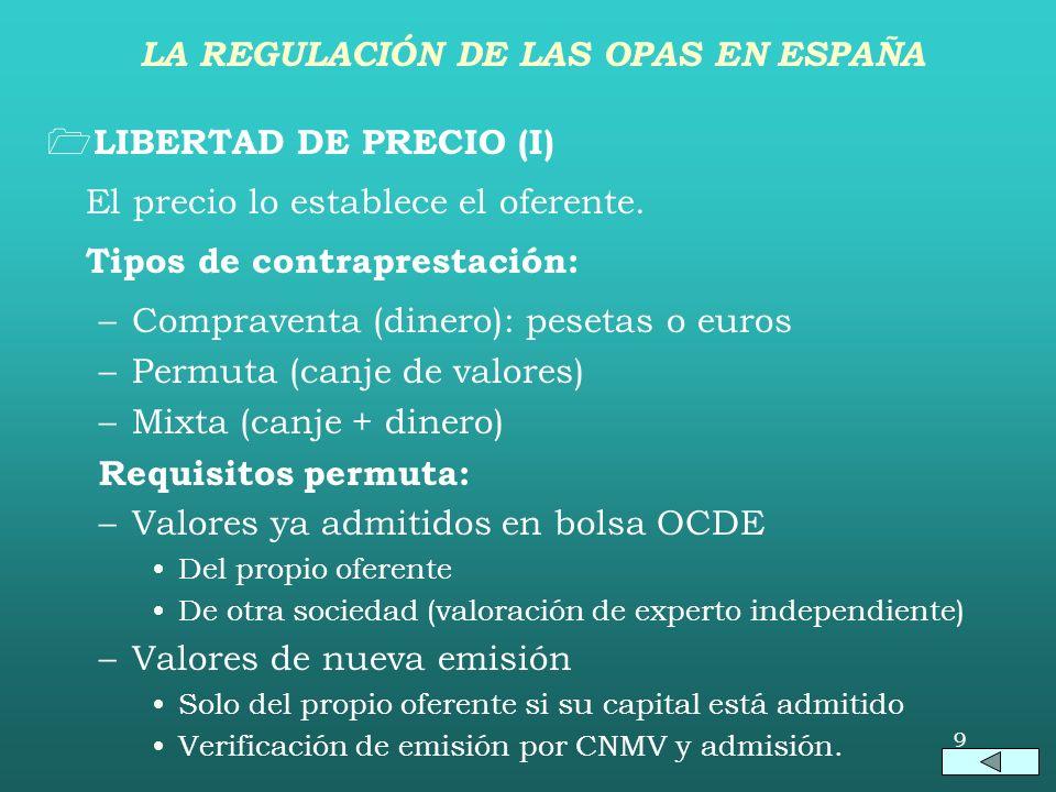 8 AUTORIZACIÓN PREVIA (II) Supuestos de OPA obligatoria post-adquisición: –OPA sobrevenida por fusión o toma de control. –OPA sobrevenida por aseguram