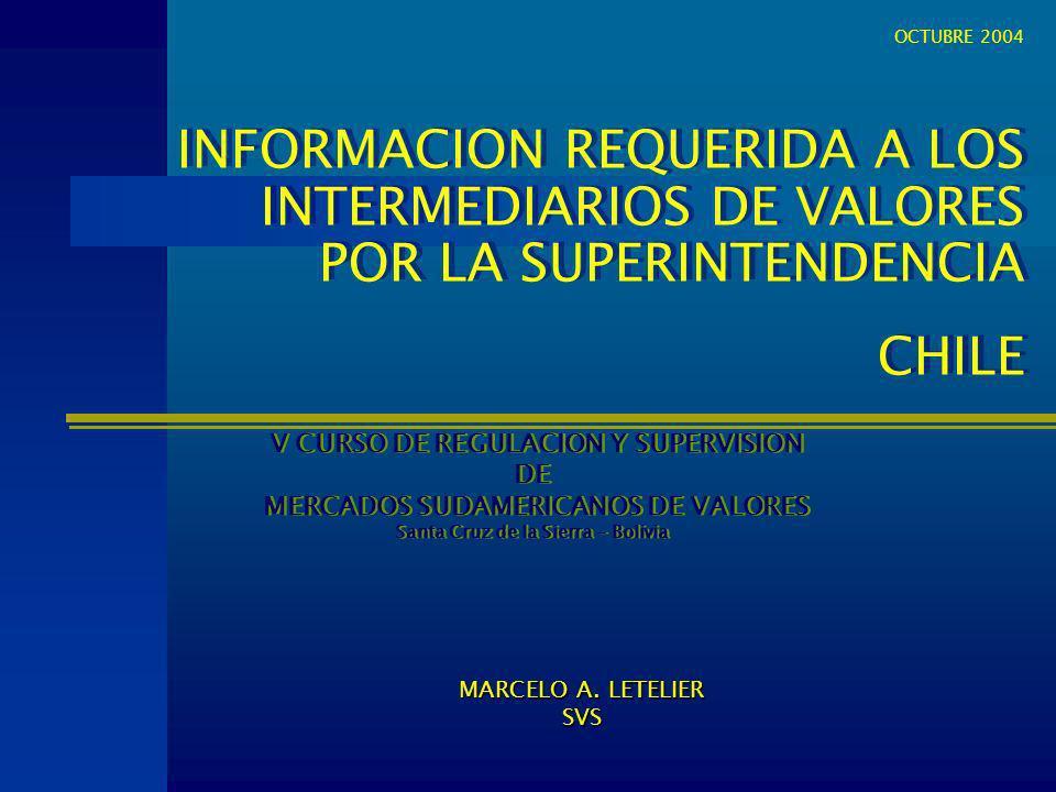 INFORMACION REQUERIDA A LOS INTERMEDIARIOS DE VALORES POR LA SUPERINTENDENCIA CHILE INFORMACION REQUERIDA A LOS INTERMEDIARIOS DE VALORES POR LA SUPER