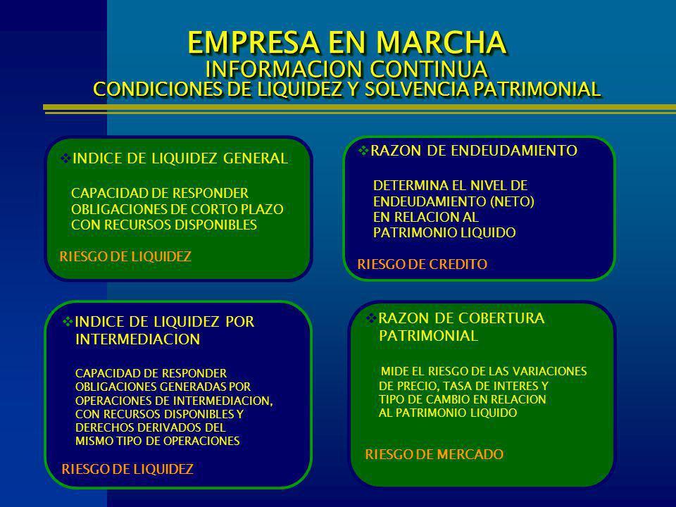 EMPRESA EN MARCHA INFORMACION CONTINUA CONDICIONES DE LIQUIDEZ Y SOLVENCIA PATRIMONIAL INDICE DE LIQUIDEZ GENERAL CAPACIDAD DE RESPONDER OBLIGACIONES