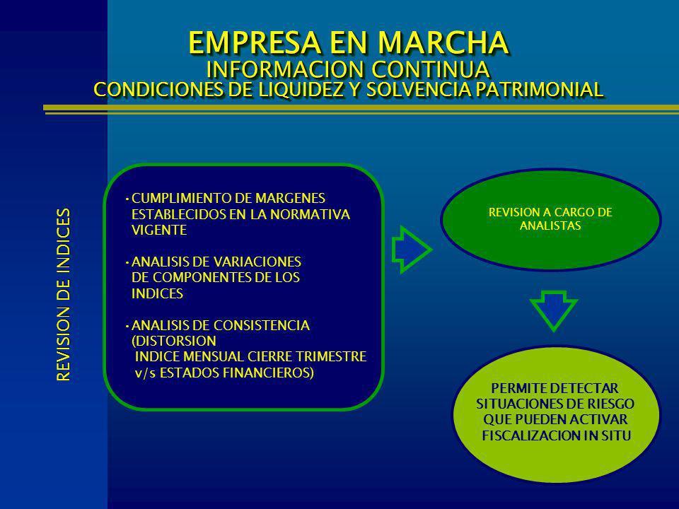 EMPRESA EN MARCHA INFORMACION CONTINUA CONDICIONES DE LIQUIDEZ Y SOLVENCIA PATRIMONIAL CUMPLIMIENTO DE MARGENES ESTABLECIDOS EN LA NORMATIVA VIGENTE A