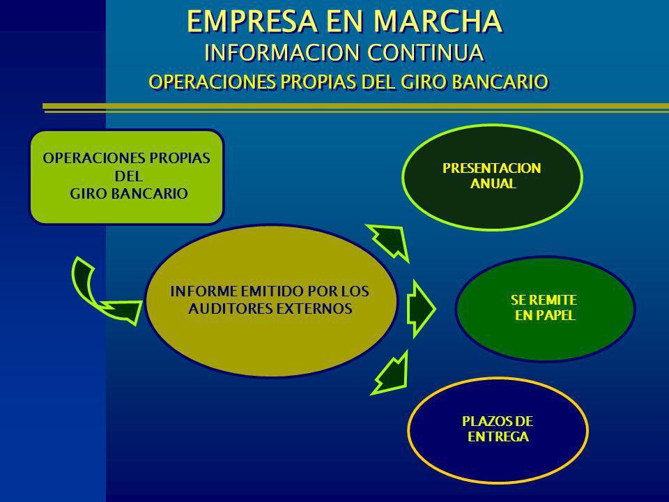 INFORME EMITIDO POR LOS AUDITORES EXTERNOS PLAZOS DE ENTREGA EMPRESA EN MARCHA INFORMACION CONTINUA OPERACIONES PROPIAS DEL GIRO BANCARIO PRESENTACION